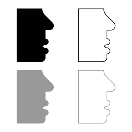 Human face side view head mouth nose lip Male profile Person silhouette icon outline set black grey color vector illustration flat style simple image  イラスト・ベクター素材