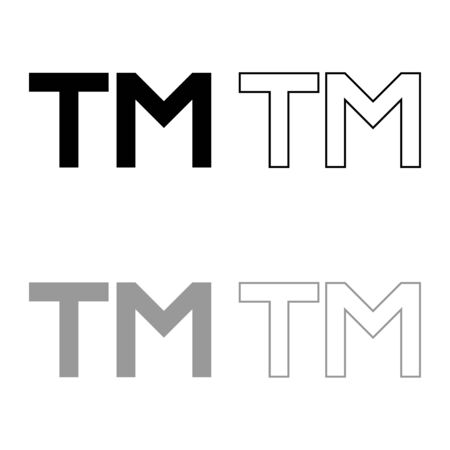 TM letter trademark icon outline set black grey color vector illustration flat style simple image  イラスト・ベクター素材