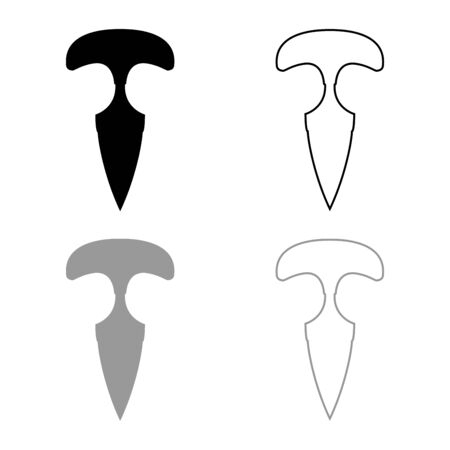 Knuckles Messer Icon Umrisse Set schwarz graue Farbe Vector Illustration Flat Style simple Image