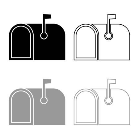 American mail box with flag Pillar-box Postbox icon outline set black grey color vector illustration flat style simple image  イラスト・ベクター素材