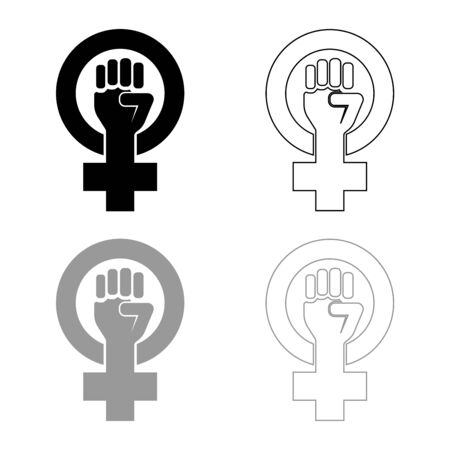 Symbol of feminism movement Gender women resist Fist hand in round and cross icon outline set black grey color vector illustration flat style simple image  イラスト・ベクター素材