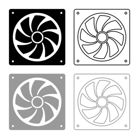 Fan for computer processor Cooler CPU cooling system Ventilator icon outline set black grey color vector illustration flat style simple image