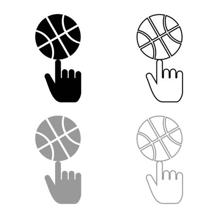 Basketball ball spinning on top of index finger icon outline set black grey color vector illustration flat style simple image