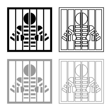 Prisoner behind bars holds rods with his hands Angry man watch through lattice in jail Incarceration concept icon outline set black grey color vector illustration flat style simple image Illustration