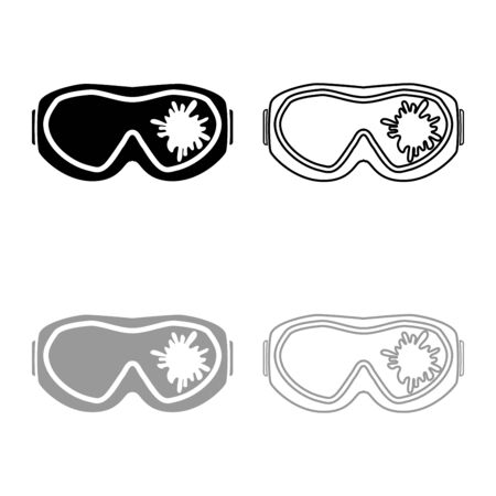 Paintball mask with mark of paint Blot on glass icon outline set black grey color vector illustration flat style simple image  イラスト・ベクター素材