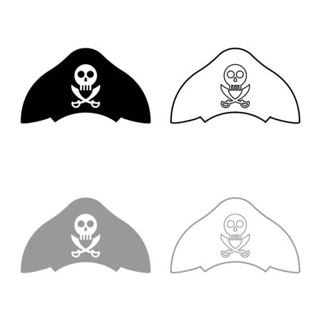 Pirate hat with skull and saber cutlass icon outline set black grey color vector illustration flat style simple image  イラスト・ベクター素材