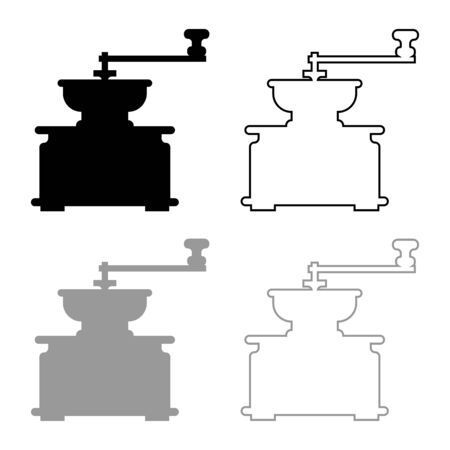 Coffee grinder Mill manual manufacture classic vintage style icon outline set black grey color vector illustration flat style simple image