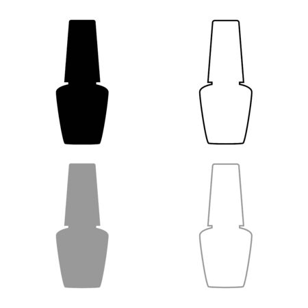 Jar with nail polish for manicure Bottle silhouette Hand hygiene Manicure concept Varnish icon outline set black grey color vector illustration flat style simple image  イラスト・ベクター素材