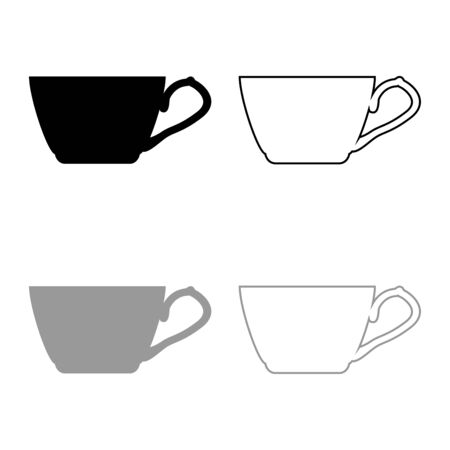 Tea cup icon outline set black grey color vector illustration flat style simple image