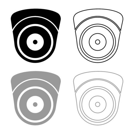 Video camera Spherical camcorder tracking Appliance monitoring Surveillance device CCTV Secure concept icon outline set black grey color vector illustration flat style simple image