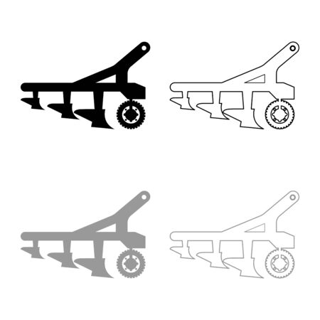 Plow for cultivating land before sowing farm products Tractor machanism equipment Industrial device icon outline set black grey color vector illustration flat style simple image