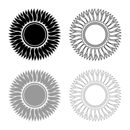Sunflower flower Sun icon outline set black grey color vector illustration flat style simple image
