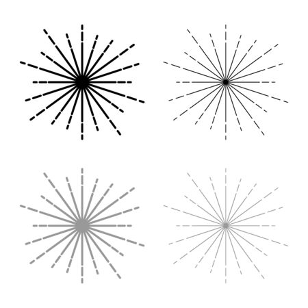Sunburst Fireworks rays Radial ray Beam lines Sparkle Glaze Flare Starburst concentric radiance lines icon outline set black grey color vector illustration flat style simple image  イラスト・ベクター素材