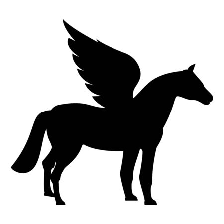 Pegasus Winged horse silhouette Mythical creature Fabulous animal icon black color vector illustration flat style simple image Vectores