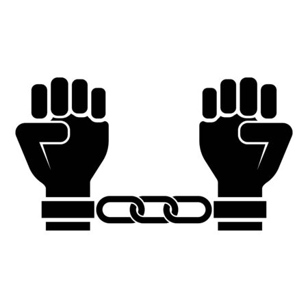 Handcuffed hands Chained human arms Prisoner concept Manacles on man Detention idea Fetters confine Shackles on person icon black color vector illustration flat style simple image