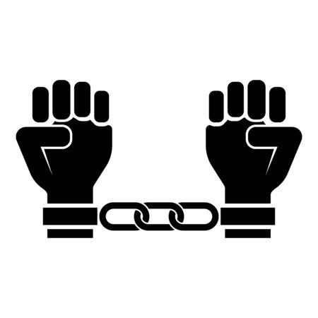 Mains menottées Bras humains enchaînés Concept de prisonnier Menottes sur l'homme Idée de détention Les entraves confinent les chaînes sur l'icône de la personne couleur noire illustration vectorielle style plat image simple