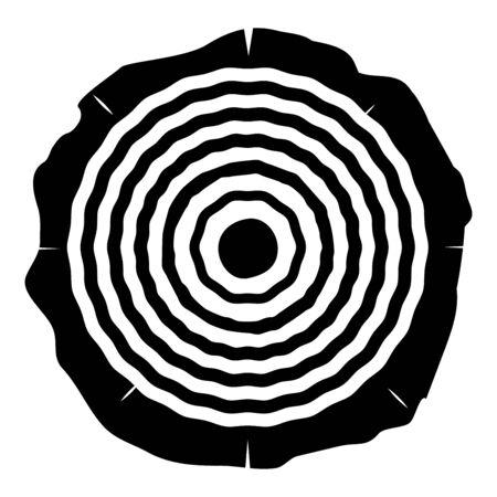 Cut tree Wood rings trunk Timber wooden texture icon black color vector illustration flat style simple image Illusztráció