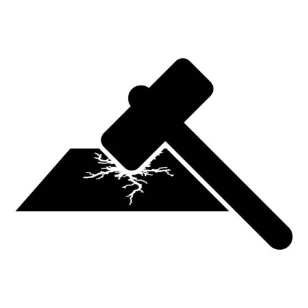 Sledge hammer breaks hard surface with formation of strong cracks icon black color vector illustration flat style simple image