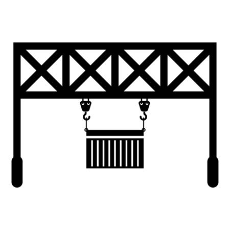 Port loader Railway crane with cargo container Lifting goods Logistic technology Terminal service icon black color vector illustration flat style simple image Ilustrace