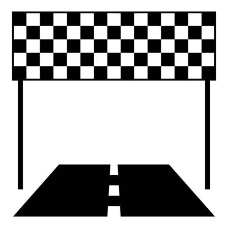 Finish and road line racing track Success concept Finishing icon black color vector illustration flat style simple image 矢量图像