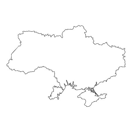 Map Ukraine icon outline black color vector illustration flat style simple image  イラスト・ベクター素材