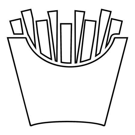 French fries in package Fried potatoes in paper bag Fast food in bucket box Snack concept icon outline black color vector illustration flat style simple image