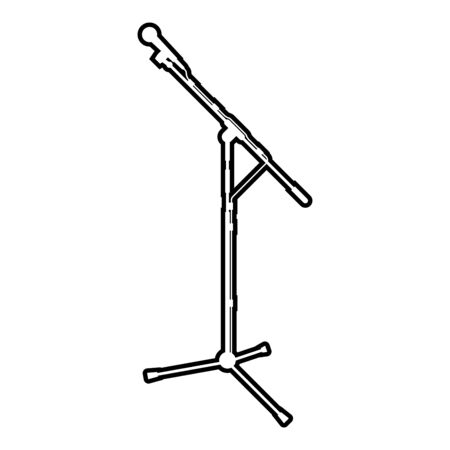 Stand microphone Sound recording equipment Racks for mic icon outline black color vector illustration flat style simple image Ilustração
