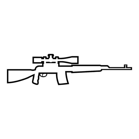 Sniper rifle icon outline black color vector illustration flat style simple image