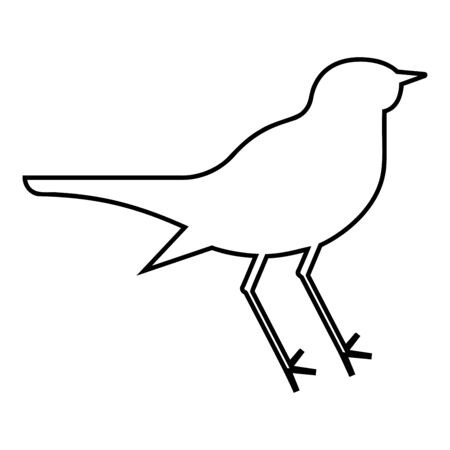 Nightingale Luscinia Bird silhouette icon outline black color vector illustration flat style simple image