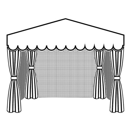 Pavilion for shopping Business tent Marquee for advertising icon outline black color vector illustration flat style simple image
