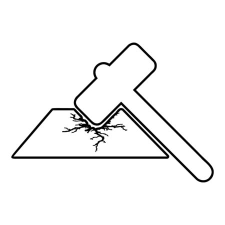 Sledge hammer breaks hard surface with formation of strong cracks icon outline black color vector illustration flat style simple image Çizim