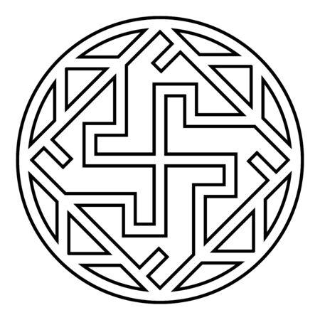 Valkyrie Varangian sign Valkiriya slavic symbol icon outline black color vector illustration flat style simple image Vecteurs