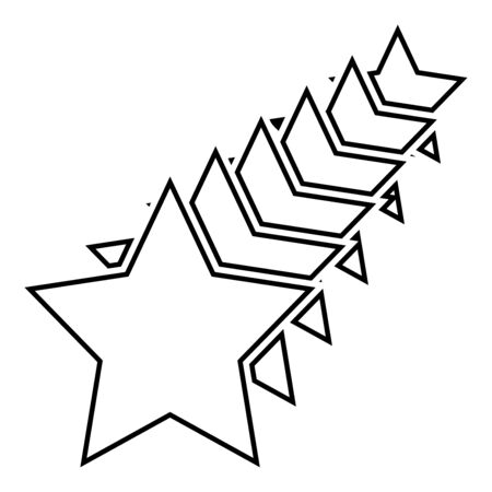 Six stars Star concept icon outline black color vector illustration flat style simple image