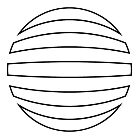 Striped sphere Concept globe Abstract ball icon outline black color vector illustration flat style simple image