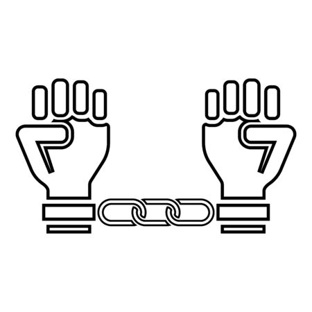 Handcuffed hands Chained human arms Prisoner concept Manacles on man Detention idea Fetters confine Shackles on person icon outline black color vector illustration flat style simple image