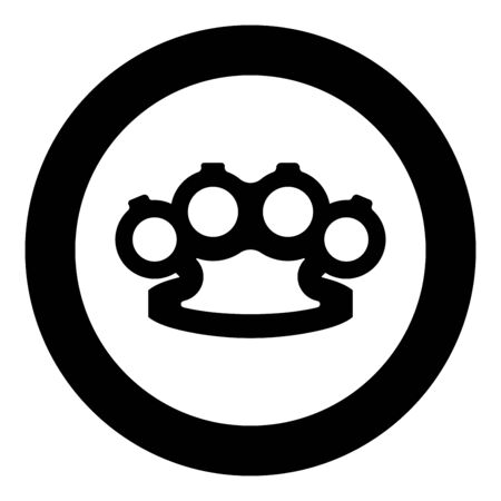Knuckleduster Knuckles Weapon for hand icon in circle round black color vector illustration flat style simple image Vector Illustration