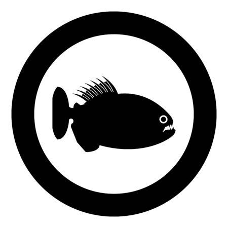 Piranha angry fish icon in circle round black color vector illustration flat style simple image Ilustración de vector