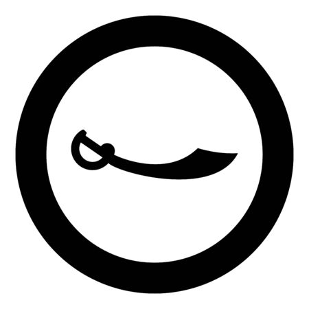 Pirate saber Cutlass icon in circle round black color vector illustration flat style simple image