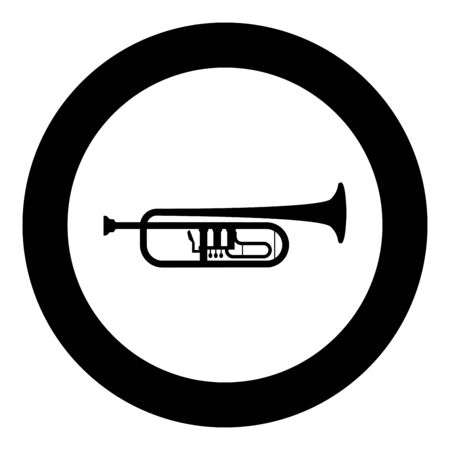 Trumpet Clarion music instrument icon in circle round black color vector illustration flat style simple image