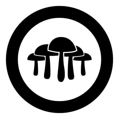 Mushrooms icon in circle round black color vector illustration flat style simple image