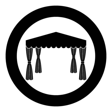 Canopy Pop up tent Commercial pavilion Awning for rest Marquee Chuppah icon in circle round black color vector illustration flat style simple image