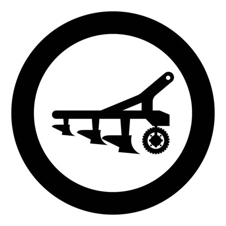 Plow for cultivating land before sowing farm products Tractor machanism equipment Industrial device icon in circle round black color vector illustration flat style simple image
