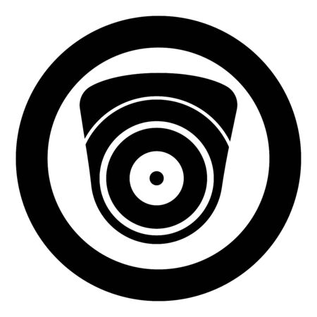 Video camera Spherical camcorder tracking Appliance monitoring Surveillance device CCTV Secure concept icon in circle round black color vector illustration flat style simple image Illustration