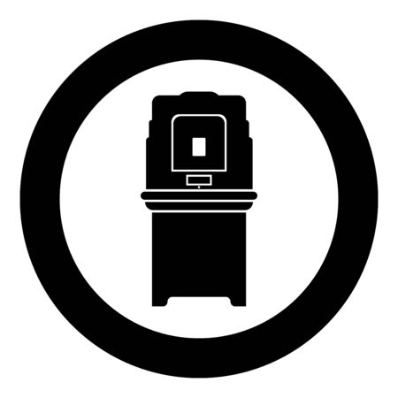 Electoral voting machine Electronic EVM Election equipment VVPAT icon in circle round black color vector illustration flat style simple image