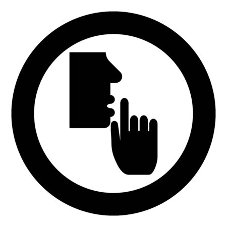 Keep silence concept Man shows index finger quietly Person closed his mouth Shut his lip Shh gesture Stop talk please theme Mute icon in circle round black color vector illustration flat style simple