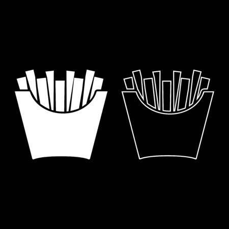 French fries in package Fried potatoes in paper bag Fast food in bucket box Snack concept icon outline set white color vector illustration flat style simple image