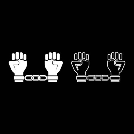Handcuffed hands Chained human arms Prisoner concept Manacles on man Detention idea Fetters confine Shackles on person icon outline set white color vector illustration flat style simple image