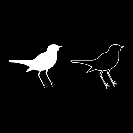 Nightingale Luscinia Bird silhouette icon outline set white color vector illustration flat style simple image
