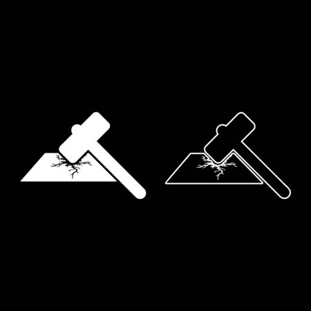 Sledge hammer breaks hard surface with formation of strong cracks icon outline set white color vector illustration flat style simple image