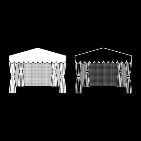 Pavilion for shopping Business tent Marquee for advertising icon outline set white color vector illustration flat style simple image Ilustração